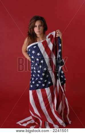 Young Woman With Flag