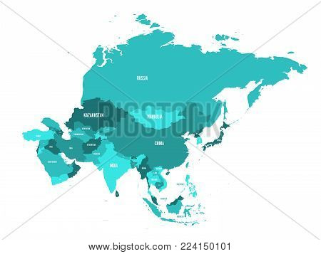Political map of Asia continent in shades of turquoise blue. Vector illustration.