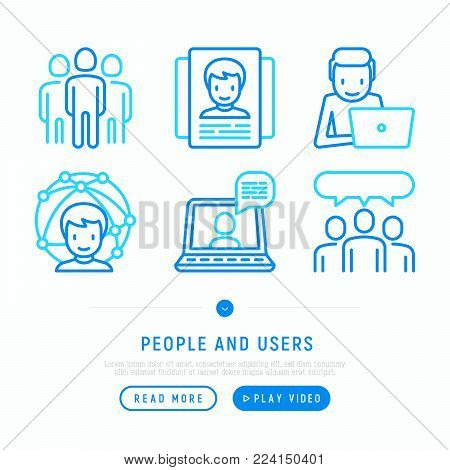 People and users thin line icons set: video call, management; communication; human resources; teamwork; candidate. Modern vector illustration; web page template.
