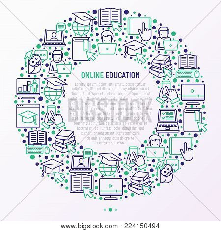 Online education concept in circle with thin line icons: online course, webinar, e-book, video conference, home studying, wise owl in graduation cup. Modern vector illustration for school web page.
