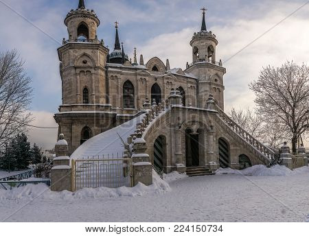 The Church in honour of the Vladimir icon of the mother of God, created in 1789 in Bykovo, Moscow region, Russia.