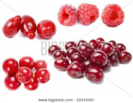 sweet ripe red berries isolated on a white background