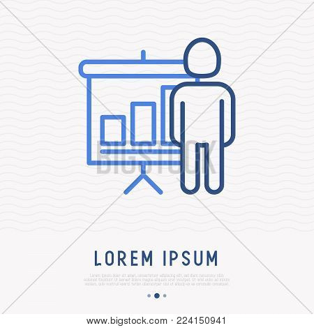 Man presenting something and showing graph with growth thin line icon. Modern vector illustration.