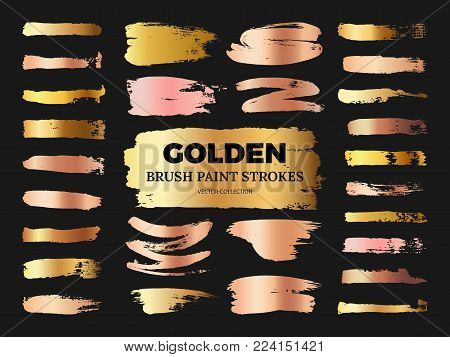Hand drawn grunge rose and golden brush paint strokes vector collection isolated on black. Illustration of stain stroke paint smudge