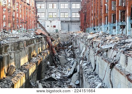 Old Destroyed The Building Of The Former Plant