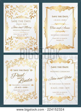 Save the date luxury vector wedding invitation cards with gold elegant border frame. Wedding banner with decoration and lettering, invitation card elegance illustration