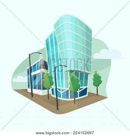 Modern office buildings. Vector cartoon style, flat design of corporate business center with skyscrapers, trees and lamps.