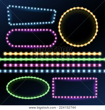 Neon and led strips and diode light border frames vector set. Neon frame light, glow and bright banner illustration