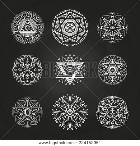 White mystery, occult, alchemy, mystical esoteric symbols on blackboard. Illustration of spirituality illuminati signs for spiritual religion esoteric vector