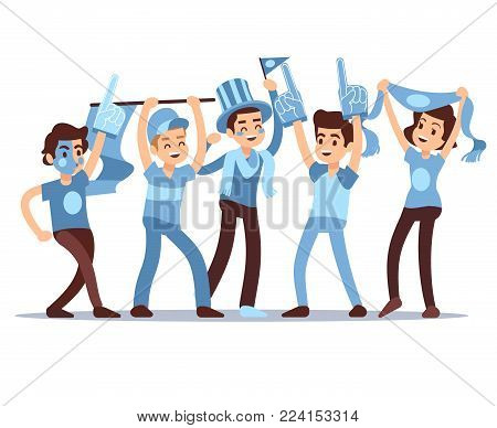 Cheering sports fans vector cartoon people characters. Sports team victory concept. Cheerful people support soccer team illustration