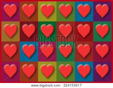 A wall of Valentine's Day hearts on a multi-colored grid background