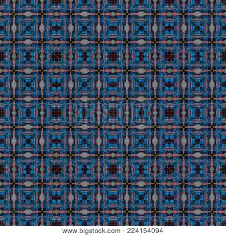 A blue and orange square grid pattern
