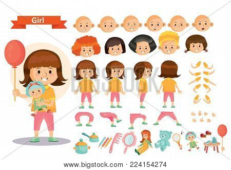 Girl kid playing toys vector cartoon child character constructor isolated icons of body parts, face emotions or gesture and haircut creation. Construction set of young girl child playing dolls