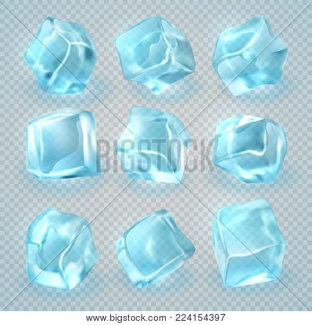 Realistic 3d ice cubes isolated on transparent background. Vector set of ice cube 3d clear illustration