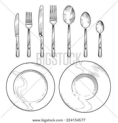 Vintage knife, fork, spoon and dishes in sketch engraving style. Hand drawing tableware isolated vector set. Knife and fork, spoon and cutlery for dinner illustration