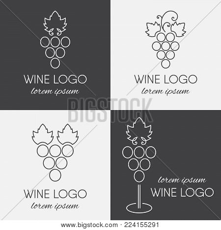 Set of grapes logo. Wine or vine logotype icon in line art style. Brand design element for organic wine, wine list, menu, liquor store, selling alcohol, wine company. Vector illustration.