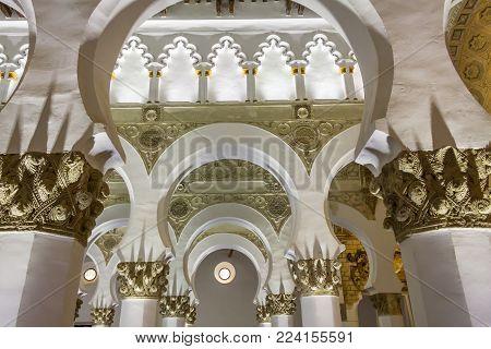 TOLEDO, SPAIN - MAY 13 2016: Interior of Santa Maria la Blanca Synagogue in Toledo, Spain.