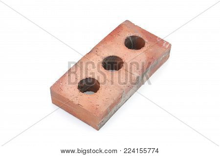 Hollow brick for housing construction on white background.