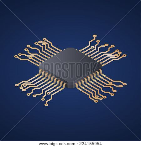 Cpu Microprocessor Microchip Circuit board. Isometric vector illustration.