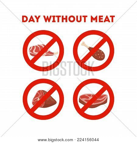 Day without meat. Meatout against cruelty for animals care.