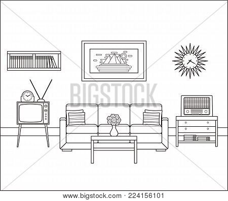 Room interior sketch. Retro living room in line art. Vector. Linear vintage illustration. Thin line home space with sofa, TV and radio. Flat house equipment 60s. Outline black white furniture 70s.