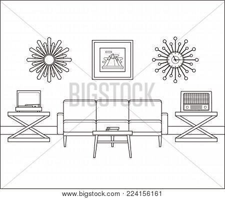 Living room interior in line art. Retro room flat design. Vector. Linear vintage illustration. Thin line home space with furniture. Outline sketch. Hand draw black white house equipment 60s 70s.