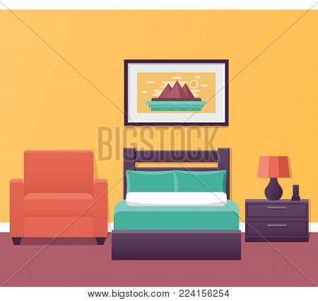 Hotel room interior in flat style. Bedroom house design with bed and armchair. Vector illustration. Single room in inn. Home background with furniture.