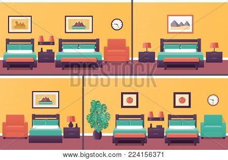Hotel rooms in flat design. Set bedroom interior with beds. Vector illustration. Home background with furniture and houseplant.