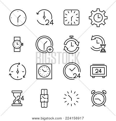 Set of 16 time thin line icons. High quality pictograms of clock. Modern outline style icons collection. Timer, watch, alarm, etc.