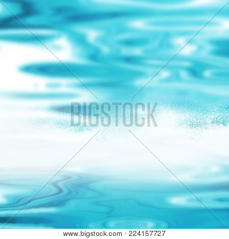Blurred water background - abstract blue ocean waves - pool surface