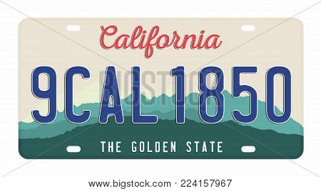 License plate isolated on white background. California license plate with numbers and letters. Badge for t-shirt graphic. Vector