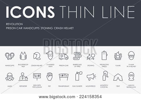Set of REVOLUTION Thin Line Vector Icons and Pictograms
