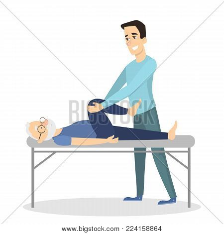 Massage therapy with man. Man doing massage to a old man.