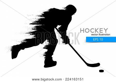 silhouette of a hockey player. Background and text on a separate layer, color can be changed in one click. Vector illustration