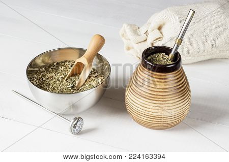 traditional yerba mate drink with accessories. yerba mate concept photo