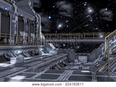 Sci-Fi hangar on the space. 3D Illustration.