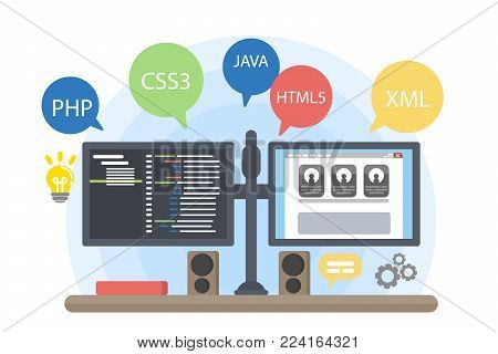 Programmers computer illustration with coding languages and apps.