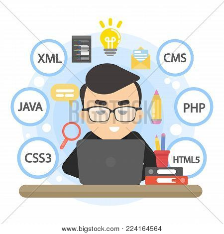 Man programmer working with code on computer.