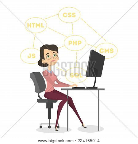 Isolated happy female programmer sitting. Php and Java, SQL and CMS.