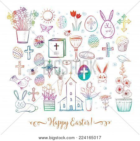Set of colored easter doodles on white background. Vector illustration