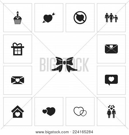 Set of 13 editable love icons. Includes symbols such as domicile, romantic, lovely postcard and more. Can be used for web, mobile, UI and infographic design.