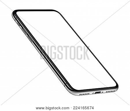 Perspective view smartphone like iPhone X mockup. Perspective smartphone mockup front side CCW rotated isolated on white background. 3D illustration.
