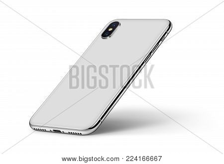 Perspective smartphone like iPhone X back side on white background. Isometric smartphone back side with shadow. 3D illustration.