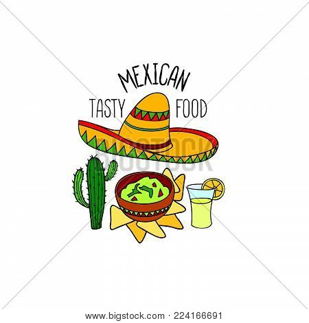 Mexican food symbol. Tasty cooked national mexican dish doodle object. Round shape sign. Fastfood icon.