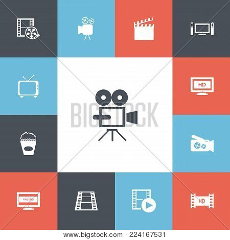 Set of 13 editable cinema icons. Includes symbols such as movie camera, hight definition, record and more. Can be used for web, mobile, UI and infographic design.