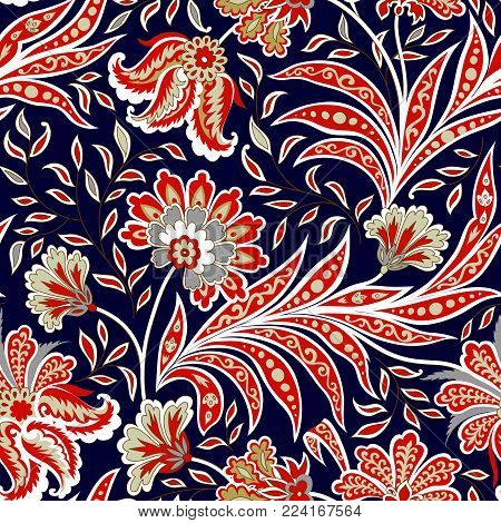 Floral Pattern. Flourish Tiled Oriental Ethnic Background. Arabic Ornament With Fantastic Flowers An