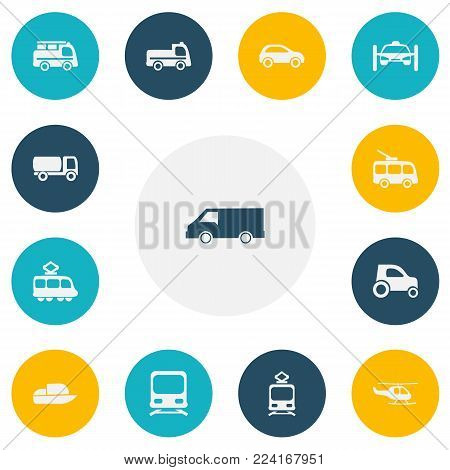 Set of 13 editable transportation icons. Includes symbols such as boat, streetcar, trolleybus and more. Can be used for web, mobile, UI and infographic design.
