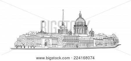 Saint-petersburg City, Russia. St. Isaac's Cathedral Skyline With Admiralty Building, Neva River Vie