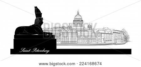 St. Petersburg city, Russia. Saint Isaac's cathedral skyline with Egyptian Sphinx monument landmark silhouette, Neva river view. Russian cityscape background.