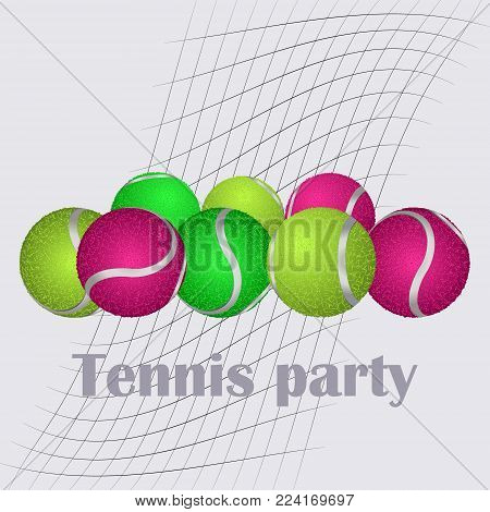 Set of tennis balls. Tennis, abstract ball, element for a sports banner, poster.